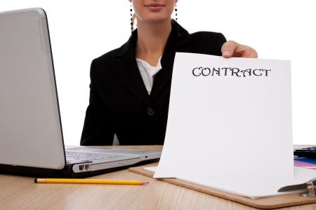 businesswoman holding an empty business contract in her hand   Stock Photo