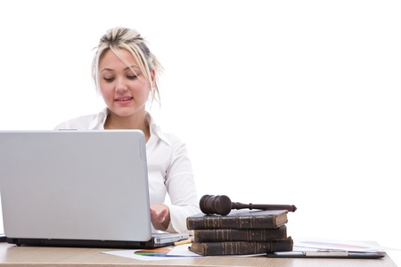 business justice concept with gavel, books and laptop Stock Photo