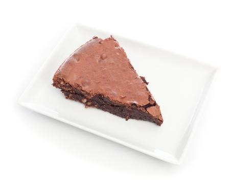 chocolate brownie cake close up on white