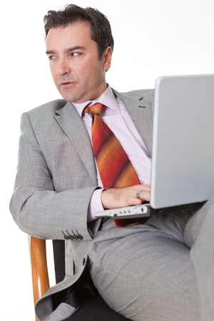 businessman with laptop on white background Stock Photo