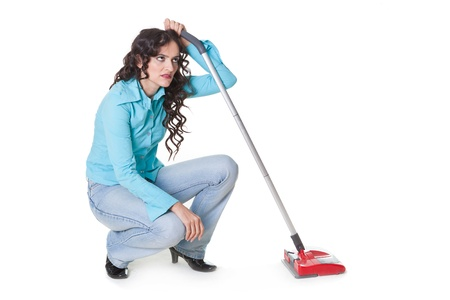 woman bored of cleaning, on white