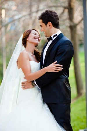 beautiful bride with a handsome groom happy together Stock Photo - 17265106
