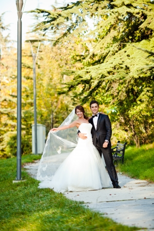 beautiful bride with a handsome groom happy together