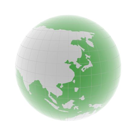 green 3d globe with east asia close up on white
