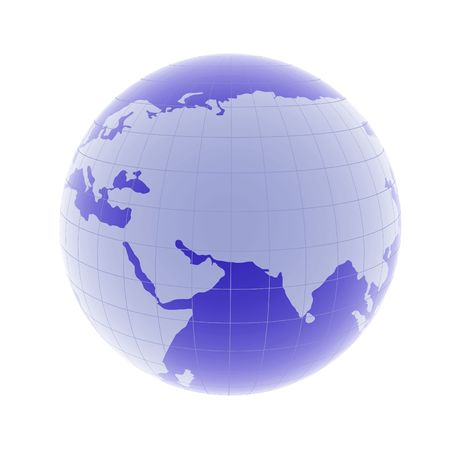 beautiful 3d globe design with asia close up on white