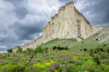 The white rock on the mountain valleys