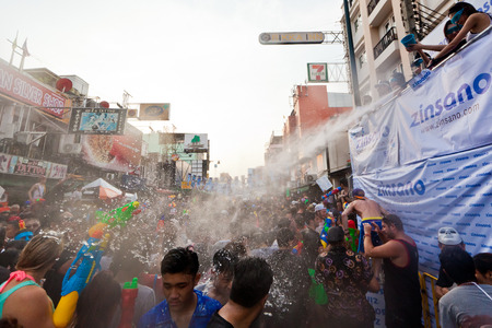 enclave: Khao San Road a Bangkoks backpackers enclave transforms itself  into a massive water fights zone during the Songkran Festival.
