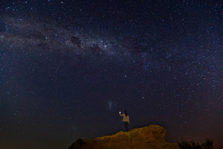 western australia: Stunning display of stars, Milky Way and meteor at Pinnacles Desert, Nambung National Park, Western Australia.