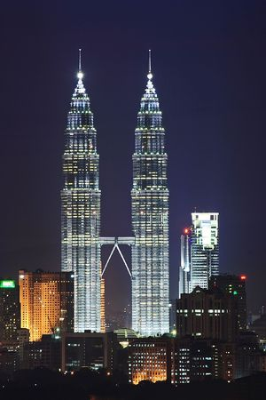 Petronas Twin Tower Night Scene Editorial