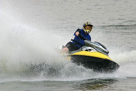 moto acuatica: Deporte del agua del esqu� del jet Foto de archivo