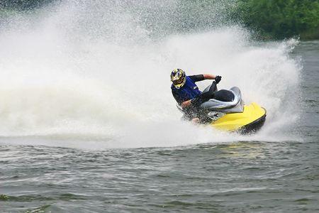 jet ski: Deporte del agua del esqu� del jet Foto de archivo
