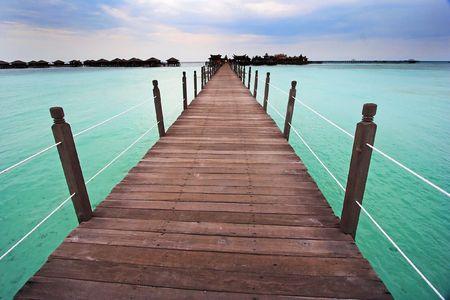 Pier at Mabul Island, Sabah, Malaysa.