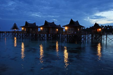 Resort night scene at Mabul Island, Sabah, Malaysia. Stock Photo - 512337