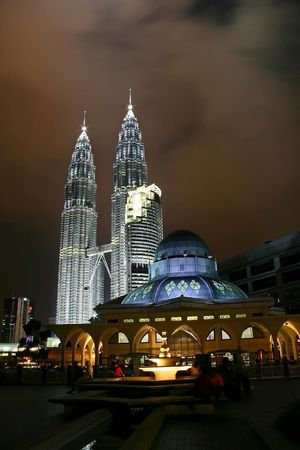Petronas Twin Towers and Mosque at night