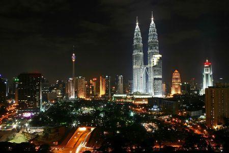 Kuala Lumpur City Night Scene, Malaysia 에디토리얼