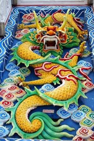 godliness: Chinese dragon in a temple. Stock Photo