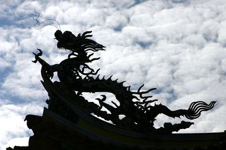 Chinese Dragon Silhouette Stock Photo - 593798