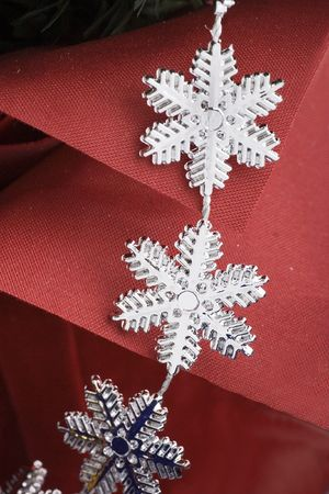 Snowflakes over red bacground