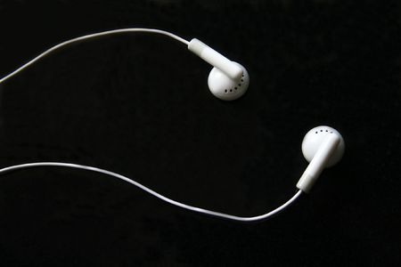 Ipod earphone close up.