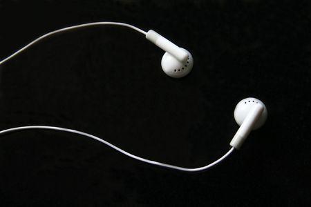 Ipod earphone close up.