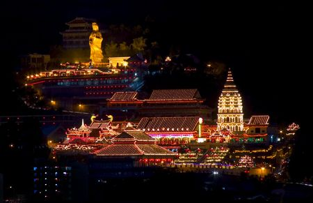 Penang Kek Lok Si Temple at night during Chinese New Year, Malaysia. 스톡 콘텐츠