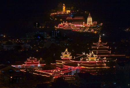 Penang Kek Lok Si Temple at night during Chinese New Year Stock Photo