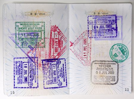 Passport stamps entering Malaysia, Singapore, Thailand and Indonesia.