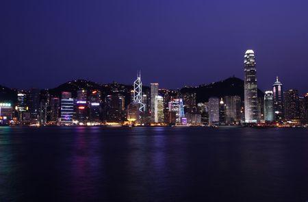 The Hong Kong Skyline By Night.