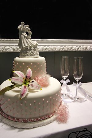 Wedding cake display. Stock Photo