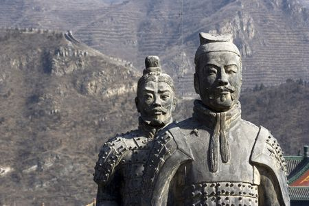 Figures of Soldier and Horses Clay in China. Stock Photo - 601180