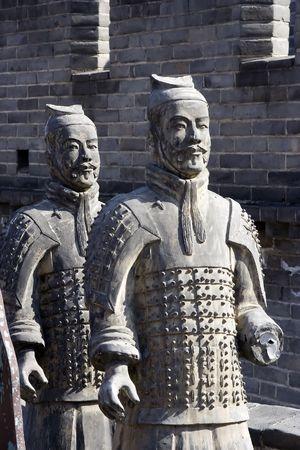 中国の粘土の馬し、戦士の数字します。
