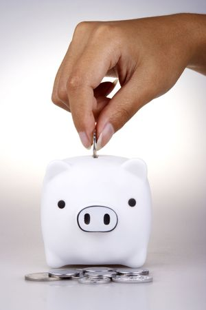 Piggy bank in white background. Stock Photo
