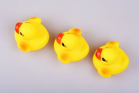 Yellowish rubber duck close up. photo