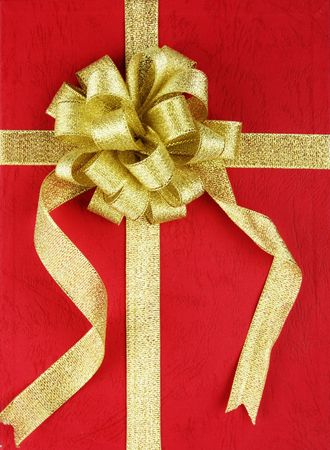 Red gift box with ribbon. Stock Photo