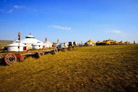 잔디 땅에 내 몽고 유르트입니다.