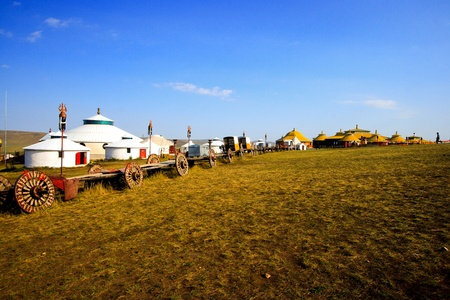 Inner Mongolia yurt in the grass land. Stock Photo