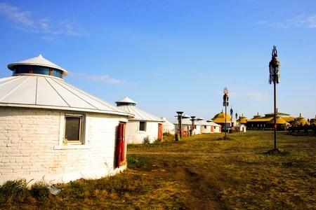 牧草地で内蒙古自治区パオ。 写真素材