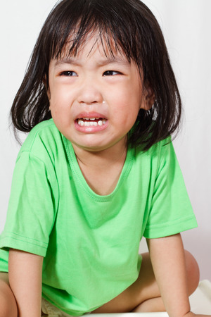 tearful: Little Asain Chinese Crying in white background