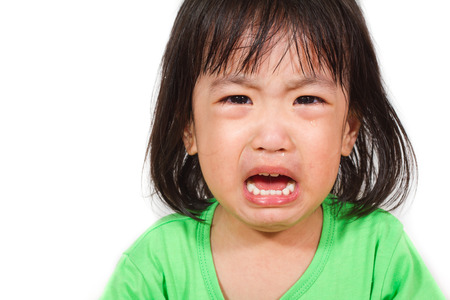 Children cry: Little Asain Chinese Crying in white background