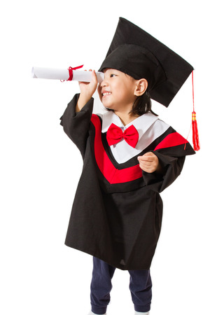 Chinese little girl graduation on white background Banque d'images