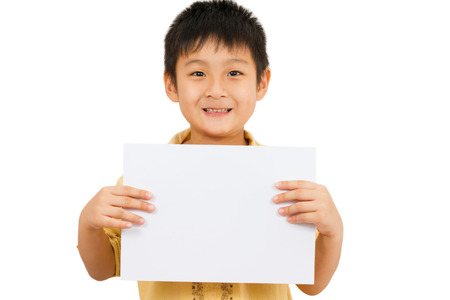 Asian Chinese Little Boy Holding blank white board