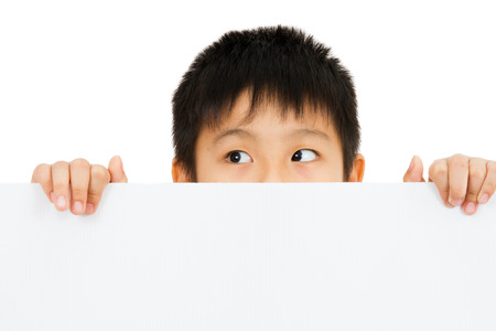 child holding sign: Asian Chinese Little Boy Holding blank white board