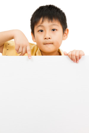 white board: Asian Chinese Little Boy Holding blank white board