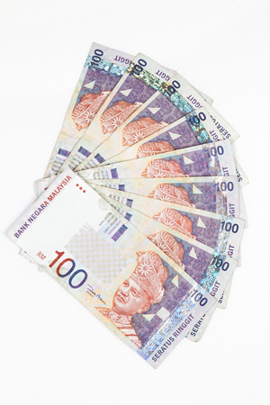 Close up of Ringgit Malaysia bills in white background Stock Photo
