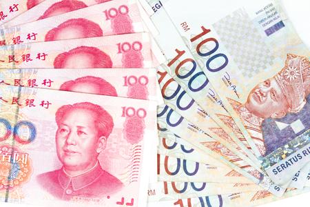 devaluation: China Ren Ming Bi (RMB) versus Ringgit Malaysia (RM) in plain white background.