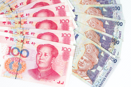 stockholder: China Ren Ming Bi (RMB) versus Ringgit Malaysia (RM) in plain white background.