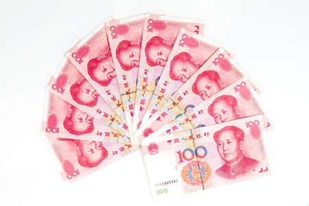 50 dollar bill: Close up of China bills in white background