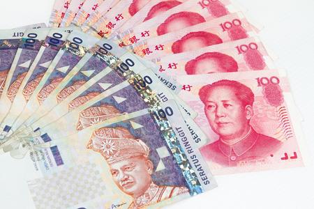 China Ren Ming Bi (RMB) versus Ringgit Malaysia (RM) in plain white background.