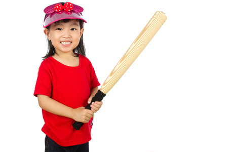 ballplayer: Portrait of a young chinse baseball player in white isolated background Stock Photo