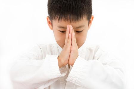 karate boy: Asian Little Karate Boy in White Kimono on White Background